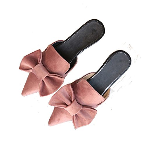 Mtzyoa Women Flat Bow Mules Pointed Toe Slip On Loafer Suede Slide Sandals Pink (Bow Mule)