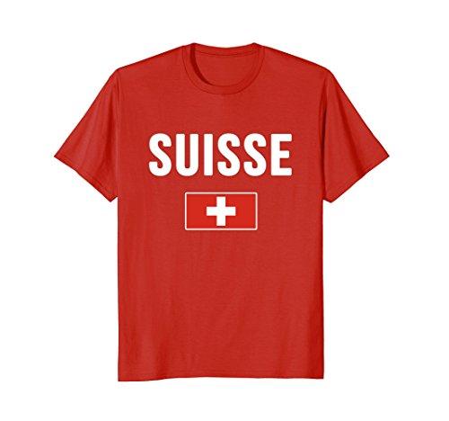 Switzerland Flag T-shirt (Mens Switzerland T-shirt Swiss Flag XL Red)