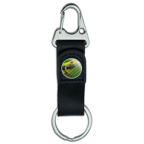 Red Eyed Snake (Belt Clip On Carabiner Leather Keychain Key Ring Reptiles Lizards Snakes Frogs - Red Eyed Tree Frog)
