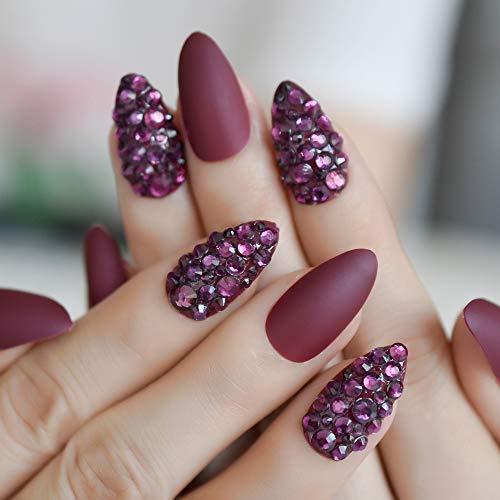 CoolNail 3D Almond Stiletto Matte False Nail Finger Tips Grape Purple Burgundy Rhinestones Pre Design Fake Nail Art DIY Tool ()