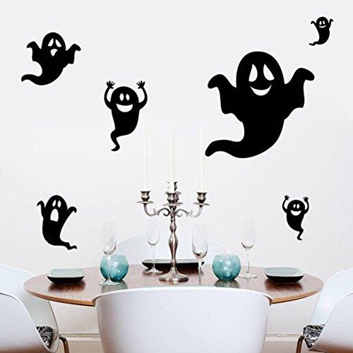 JHKUNO Wall Décor Stickers, Happy Halloween Black Ghost