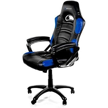 Arozzi Enzo Series Gaming Racing Style Swivel Chair, Black/Blue