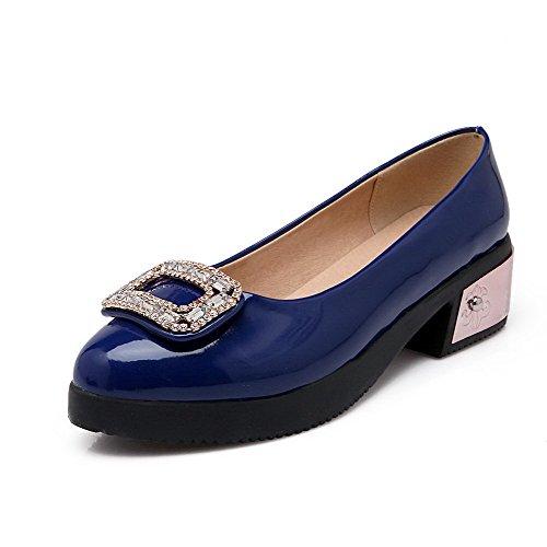 AllhqFashion Damen Rund Schließen Zehe PU Eingelegt Niedriger Absatz Pumps Schuhe Blau
