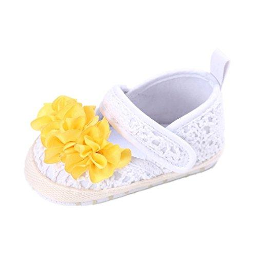 Auxma Baby Prewalker Schuhe,Baby Sommer Prinzessin erste Wanderer Schuhe Blumen Schuhe Sandalen für 3-6 6-12 12-18 Monat (12-18 M, Rosa) Weiß