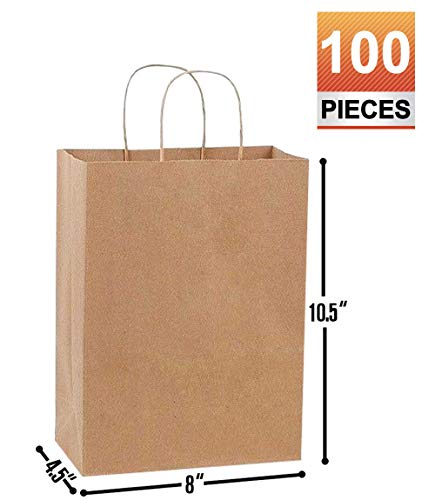 Paper Shopping Bags With Handles (8x4.5x10.5 Brown Kraft Paper Gift, Shopping, Retails, Wedding, Merchandise, Strong and Reusable Bags with Handles)