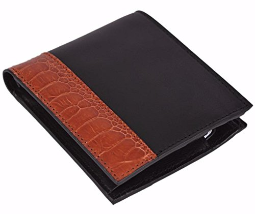 Gucci Men's Ostrich Claws Leather Bi-Fold Wallet 256418 1066 Black/Burnt Orange