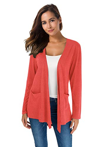 TownCat Women's Loose Casual Long Sleeved Open Front Breathable Cardigans with Pocket (Coral1, L)