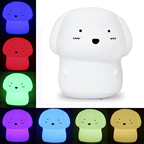 KssFire Rechargeable Silicone Dog Night Light Soft Cute Dog Night Lamp Multicolor Voice Message Recording Tap Control for Kids Children Adults Gift and -