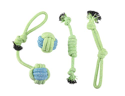 GOGOPETS Dog Chew Toys Rope - Green Flexible Rope Puppy Chew Toys Washable Cotton Rope Toys Set for Small Dog Puppy Pet(4 Packs/Set)
