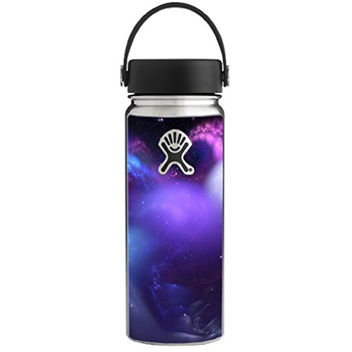 (Skin Decal Vinyl Wrap for Hydro Flask 18 oz Wide Mouth / space gasses purple cloud )