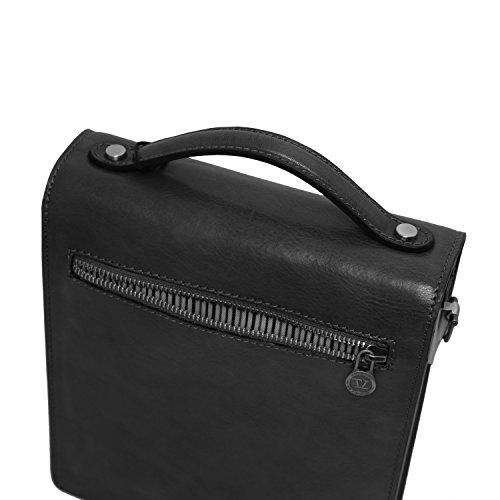 Tuscany Leather - David - Sac bandoulière en cuir pour homme - Petit modèle - Noir