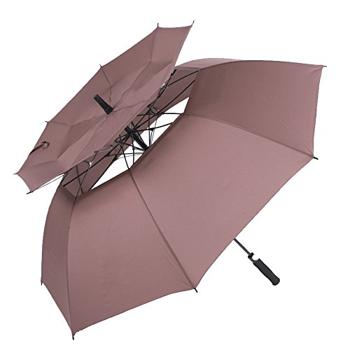 Golf Umbrella Travel Automatic Open Large Windproof 62inch Oversize Double Canopy Wind Resistant Vented Extra Waterproof Stick Umbrellas (Brown)