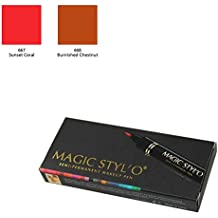 Bundle of 2 Items: Magic Stylo Semi Permanent Makeup Pen (Sunset Coral & Burnished Chestnut)