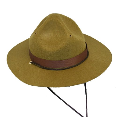 [Olive Green Park Ranger/Mountie/ Smokey Bear Hat-One Size Fits Most Adults] (Army Men Halloween Costumes)