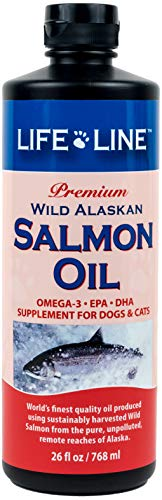 Life Line Pet Nutrition Wild Alaskan Salmon Oil Omega-3 Supplement for Skin & Coat - Supports Brain, Eye & Heart Health in Dogs & Cats, 26 oz