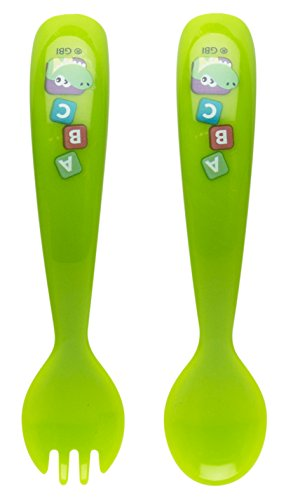 Zak Designs Toddlerific Fork and Spoon Set, Baby Genius ()