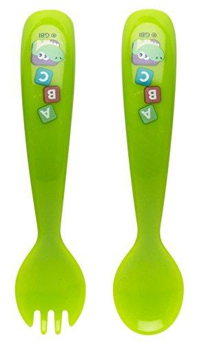 Zak Designs Toddlerific Fork and Spoon Set, Baby Genius