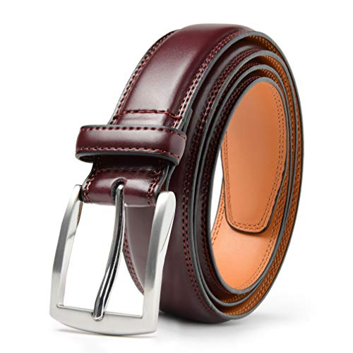 Mark Fred Men's Genuine Leather Dress Belt, Handmade, 100% Cow - Mahogany Genuine