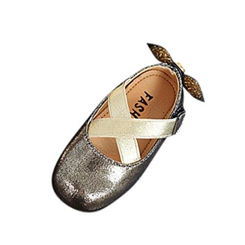 Clode® Baby Fashion Sneaker Kind Mädchen Bowknot Beiläufige Einzelne Leder Prinzessin Schuhe Gold