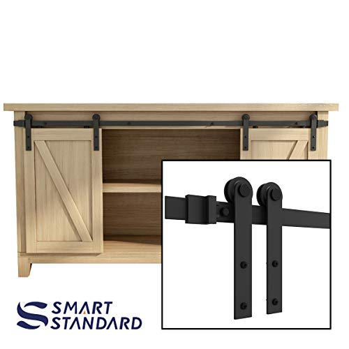SMARTSTANDARD 5FT Super Mini Sliding Barn Door Hardware Track Kit -Smoothly and Quietly -for Double Opening Cabinet, TV Stand, Closet, Window -Fit 15
