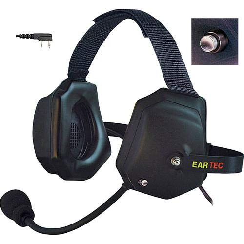 Eartec Xtreme Double Ear Heavy Duty Shell Mount PTT Headset with Mic and Kenwood 2 Pin Connector for Wireless Radio -