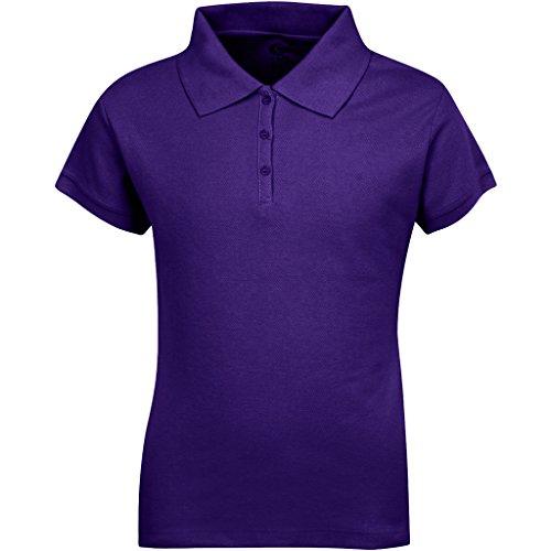 Premium short sleeves girls polo shirts hunter green xs 5 for Purple polo uniform shirts