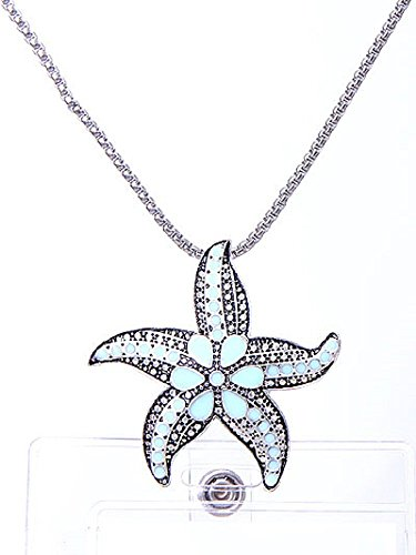 Starfish ID Badge Holder Lanyard Silver Chain Sea Life Necklace