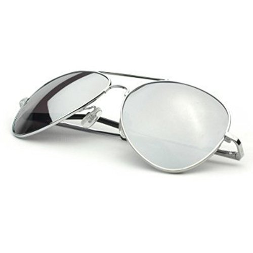 MJ Eyewear Silver Mirror Lens Aviator Sunglasses - (1 SILVER, - Sunglasses Mirror Aviator