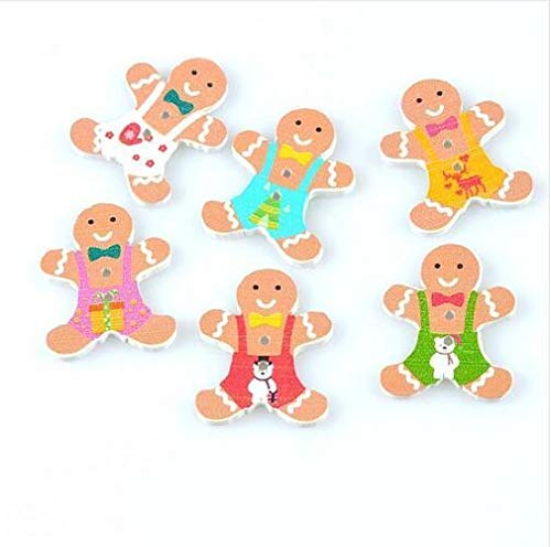 (Bazzano 50X Christmas Gingerbread Man Buttons Wooden Decoration Sewing Scrapbooking 30mm)