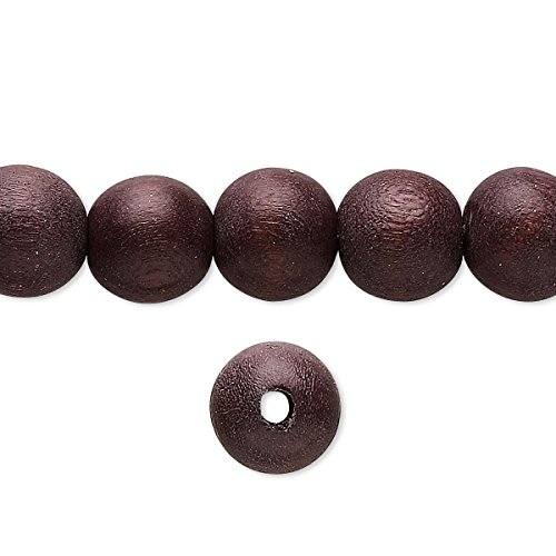Bead wood (dyed / waxed) chocolate brown 9-10mm round with 1.4-2.5mm hole (Dyed Chocolate Mm 10)