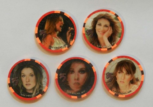 Celine Dion ''A New Day'' Caesar's Palace $5 Casino Chip Set New/Uncirculated + ''A New Day'' Final Advertisement Brochure for ''A New Day'' by Caesars Palace