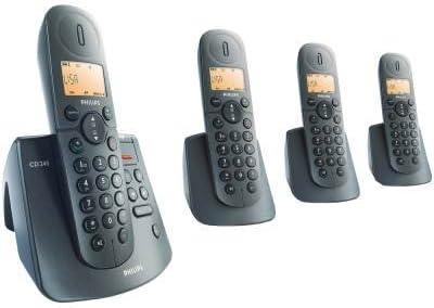 Philips teléfonos Digital Quad Set CD245 cd2454 CD245 Quattro Digital teléfono DECT con contestador automático, color negro: Amazon.es: Electrónica
