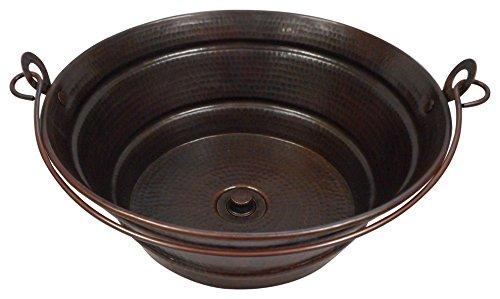 15 Rustic Round Copper BUCKET Vessel Bath Sink with Lift-n-Turn Drain by SimplyCopper