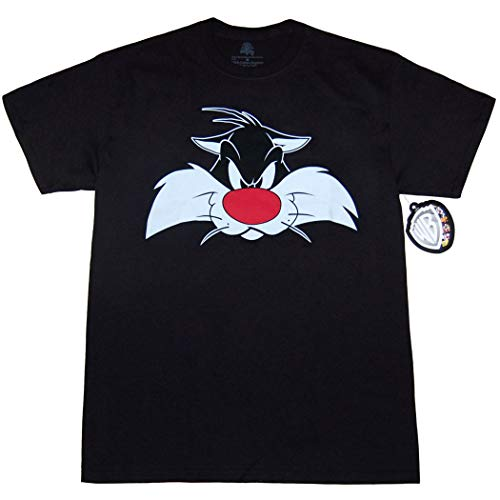 Looney Tunes Character Face T-Shirt (Sylvester, Black, X-Large)