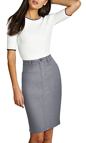 Lexi Womens Pull on Stretch Denim Skirt SKS22882 Grey 10 ()
