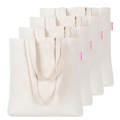 (Dimayar 4 Pieces Resuable Cotton Canvas Tote Bag for Crafting and Decorating)