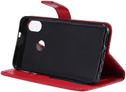 Rouge Fonction de Support pour Xiaomi Pocophone F1//Poco F1 Porte-Carte Gray Plaid Coque Xiaomi Pocophone F1//Poco F1,Haute Qualit/é PU Portefeuille Cuir Flip /Étui Case Cover