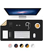 Dual-Sided Using Desk Pad Writing Desk Mat Blotter Mats Table Protector on Top of Desks for Office Laptop Computer Desktop Cover Under Keyboard Mousepad Pads for Girls Women Kids PU Leather 16X32 Inch
