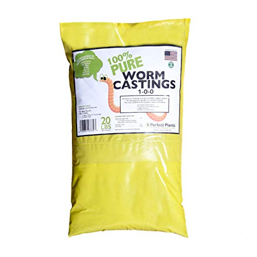 Organic Worm Castings by Perfect Plants, 20lbs, 100% Pure Castings Great for Vegetables, Fruits, ()