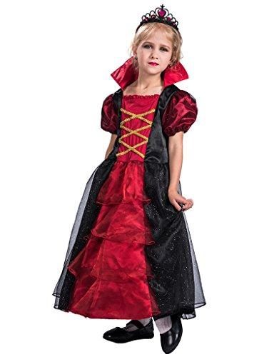Girls Gothic Vampiress Costumes (FantastCostume Girls Gothic Vampiress Contessa Costume(Red Black, Medium))