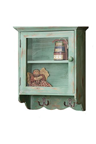 Your Heart's Delight Cabinet with 2 Shelves, Glass Door and Hooks,