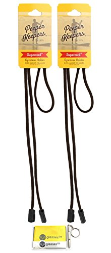 Peeper Keepers Eyeglass Retainer | Supercord | Eyeglass Holder | Brown, 2pk | w/Microfiber Cloth, Screwdriver