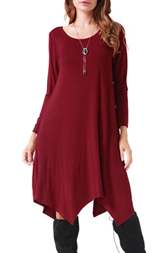 Invug Women Casual Loose Soft Crewneck Long Sleeve Pockets Swing T-shirt Dress Dark Red XXL by Invug (Image #3)