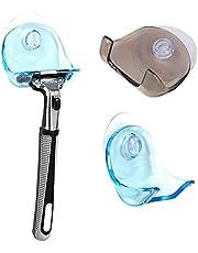 2 piezas Soporte para maquinilla de afeitar con ventosa - Organizador adhesivo para el baño vidrio y azulejos - Gris/azul