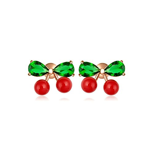 KnSam Women Earrings Fashion Women Rose Gold Plated Women Stud Earring 3-Prong Green Cubic Ziconia Cherry Design Red Pearl 10x13.5MM