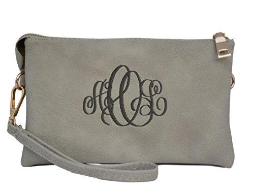 Personalized Crossbody Clutch Purse or Wristlet Handbag For Women (Monogram Clutch Wristlet)