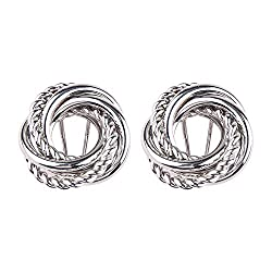 Shallnne Metal Gold Silver Stud Earring For Women Vintage Trendy Punk Statement Luxury Party Gift Earrings Silver Color