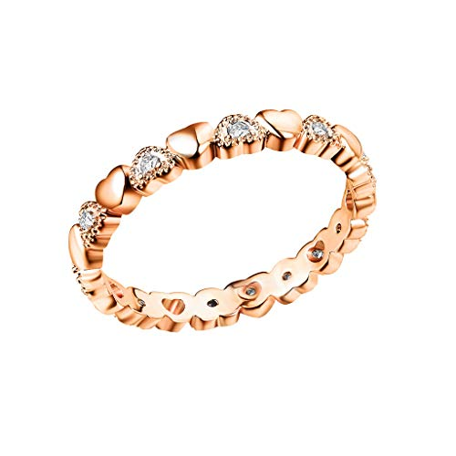 Haluoo S925 Sterling Silver Heart Ring,Infinity Diamond Love Heart Engagement Ring Cubic Zirconia Cz Eternity Wedding Band Finger Rings Anniversary Rings for Women Size 6-10 (6, Rose Gold)