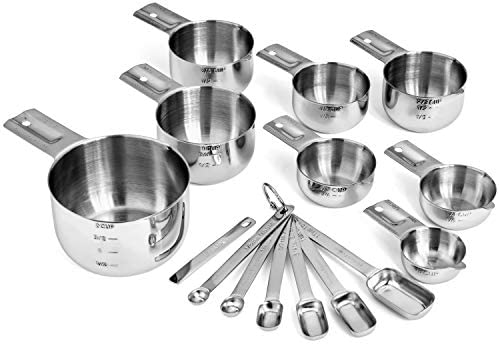 Hudson Essentials Stainless Steel Measuring Cups and Spoons Set 15 Piece Set
