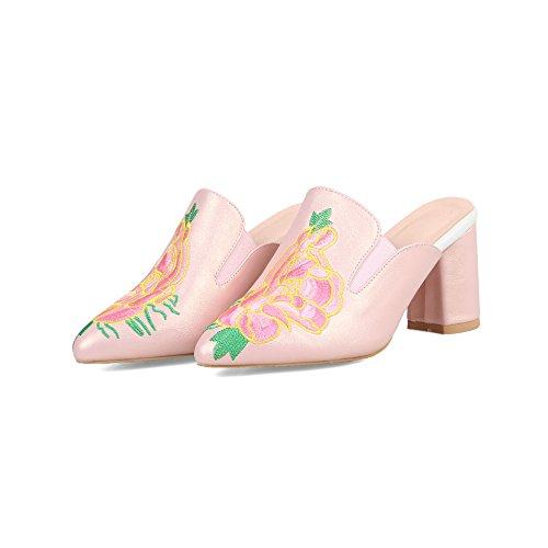 Pink Qin amp;X Women's Heels Flip Sandals Flop Block SSr0Cwq